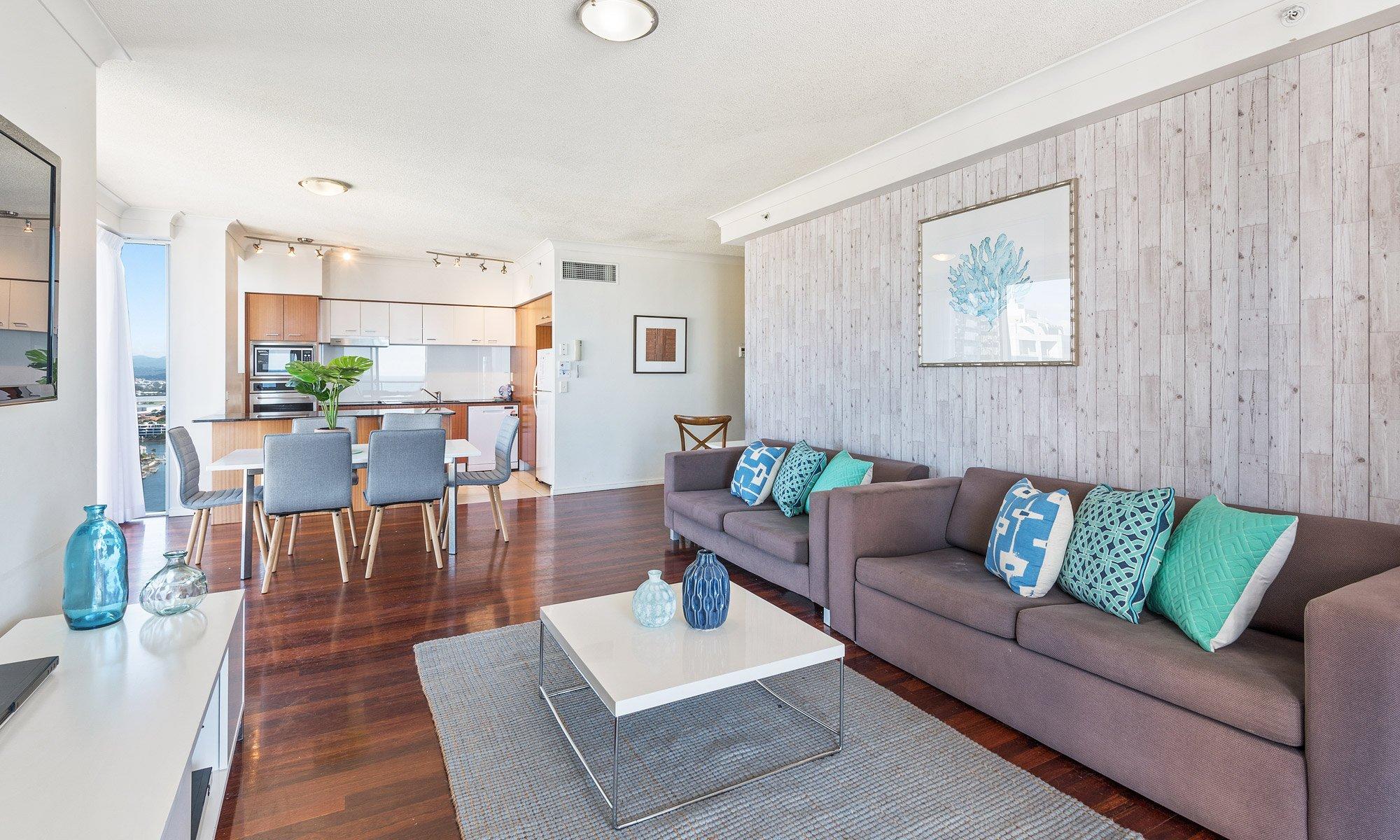 Gold Coast real estate for sale Chevron Renaissance 1264 living room